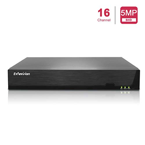 Evtevision 16CH 5MP / 1080P Netzwerk Video Recorder 16 Kanal CCTV NVR Onvif P2P Schnelle QR Code Scan w/Einfache Remote View HDMI/VGA-Ausgang, Festplatte ist Nicht enthalten und kein eingebautes WiFi