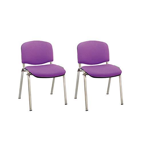 Centrosilla Silla confidente ISO apilable Confortable Acolchado más Grueso Ideal para Salas Espera, reuniones, conferencias, Silla tapizada en Morado con Patas Acero Cromado (Pack 2 Unidades)