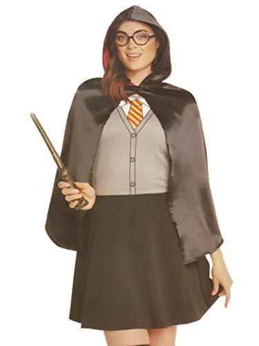 Harry Potter Womens Hermione Halloween Costume Dress Cape & Glasses XL 17-19 Black