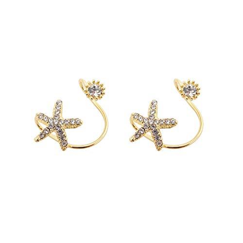 HONBAY 2PCS Starfish Ear Cartilage Clip Ear Cuff Fake Earrings Non-Piercing Earrings