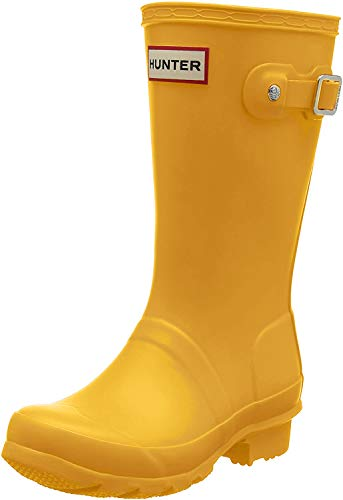 DADAWEN Boy's Girl's Waterproof Side Zipper Lace-Up Ankle Boots (Toddler/Little Kid/Big Kid) Yellow US Size 5.5 M Toddler