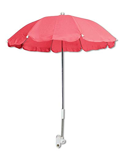 Mediawave Store - Ombrellino parasole passeggino 263181 o lettino, di diametro 70cm, protezione raggi solari, adatto ad ogni passeggino, universale con pinza, proteggi il tuo bambino (Rosa)