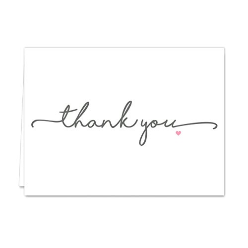 Thanks from the Heart Thank You Note Card Pack/Set Of 36 Greeting Cards With White Envelopes