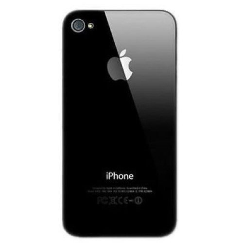 Black Cover OEM Replacement Glass Back Battery Cover for iPhone 4 A1349 Verizon (Black)
