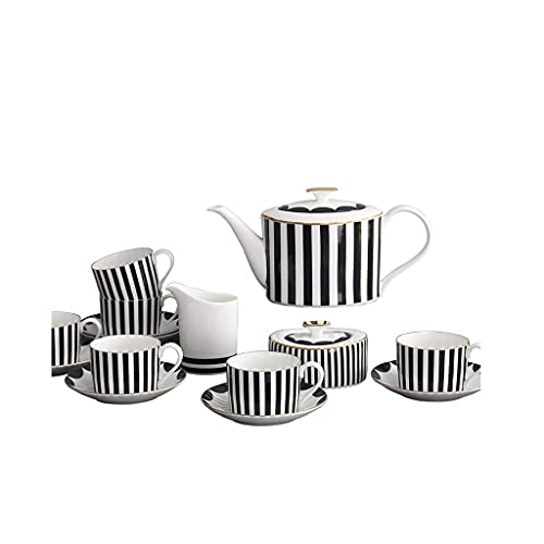 SHYPT Copa de Taza de café Hueso China Simple Negro Negro Modelo Vertical 6 Personas Coffeeware Teaware Sugar Cuenco Crema Taza Tarde del platillo