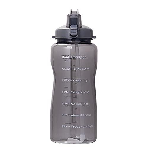 Botella de Agua con Marcador de Tiempo Motivacional de Medio galón / 64 oz, Jarra de Agua Tritan sin BPA a Prueba de Fugas con asa, Botella de Agua de Gran Capacidad para Fitness, Gimnasio, Camping,