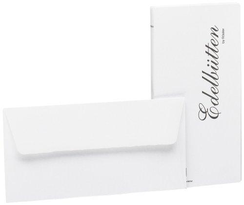 Rössler 2032388003 - Briefumschläge DIN Lang, gehämmert, 20 Stück, weiß