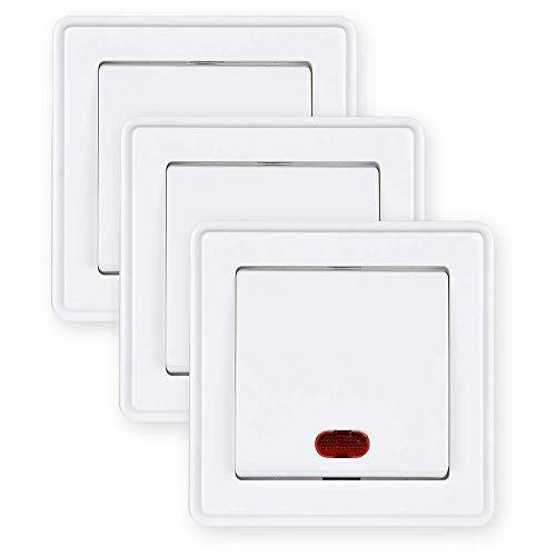 HEITECH Interruptor de luz con luz de control en color blanco – 3 interruptores de encendido/apagado empotrados de 250 V CA, 10 A, IP20 incluye marco, inserto y cubierta