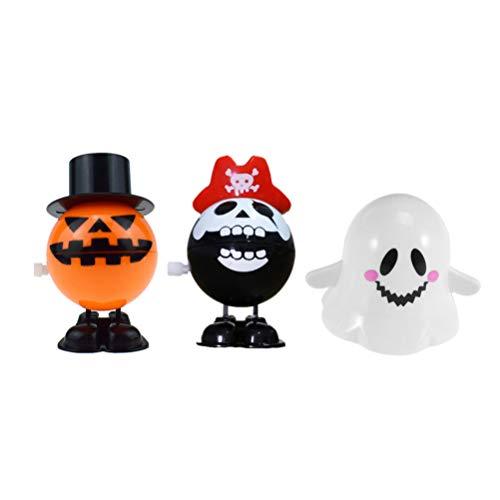 NUOBESTY 3 Stücke Halloween Aufziehspielzeug Geist Figur Kürbis und Piraten Schädel Totenkopf Uhrwerk Spielzeug für Kinderparty Kindergeburtstag Party