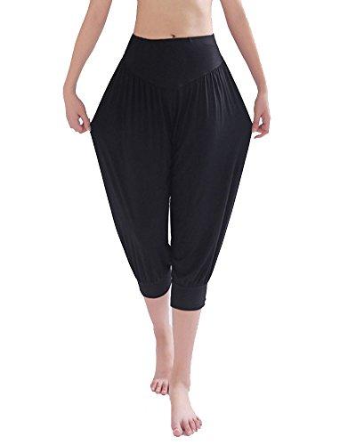 DianShao Pantalones Cortos De Yoga Pretina Elástico Bombachos Fitness para Mujer Negro 2XL