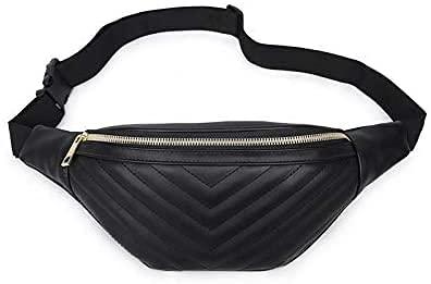 Nuevos Bolsos para Mujer Paquete Pecho Mujer Riñonera Bolso Redondo Cinturón de Cuero Marca de Lujo Nuevo Bolso Beige Moda Durable Impermeable (Color: Negro, Tamaño: Talla única)