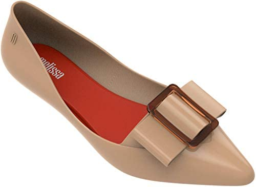 Melissa Womens Pointy III Ballet Flat Beige Red Size 9 product image