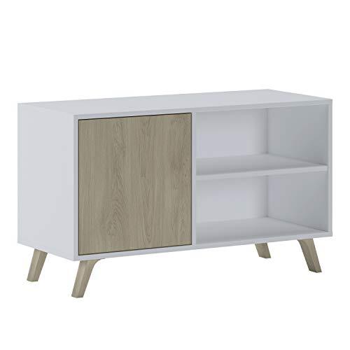 SelectionHome - Mueble TV 100 con puerta, mueble de salon comedor, Modelo Wind, color Blanco y Puccini, medidas: 92 cm (largo) x 40 cm (fondo) x 57 cm (alto)