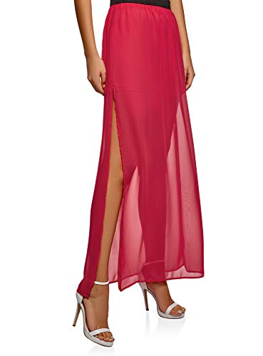 oodji Ultra Donna Gonna Maxi in Tessuto Fluido, Rosa, IT 46 / EU 42 / L