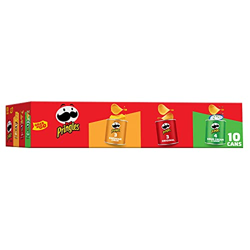 Pringles Potato Crisps Chips Variety Pack, Lunch Snacks, Office and Kids Snacks, Grab N' Go, 13.7oz Box (10 Cans)