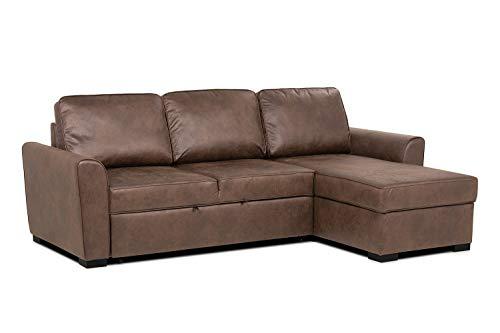 Confort24 George hoekbank, 3-zits, uittrekbaar, met koffer, PU-leer, bruin