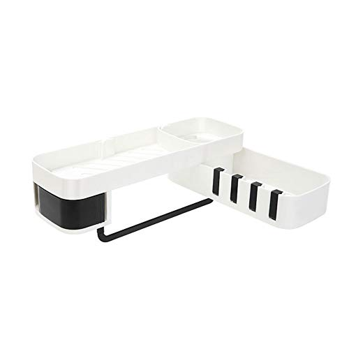 KKJIA Estantes De Baño Estante De Esquina Para Carrito De Baño Organizador De Almacenamiento Sin Perforaciones, Para Accesorios De Baño De Cocina 34*8cm Blanco + negro