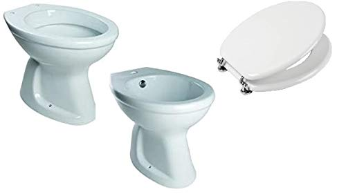 Sanitari Coppia WC - Vaso e Bidet con Scarico a Terra - Pavimento Completo di Sedile