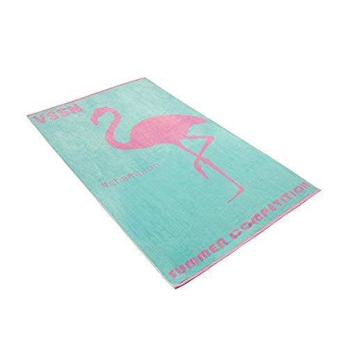 Vossen Strandtuch Mister Flamingo Capri Blue, 100 x 180 cm