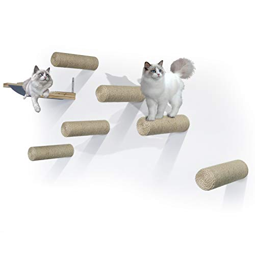 LAZZO Wall Mounted Cat Shelves Set, Sisal Cat Scratching Post Steps (6pcs) with Cat Hammock (1pcs), Float Perch Pet Bed Furniture Shelf Set for Climbing&Playing&Lounging