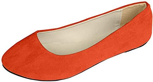Stiefel Damen Flachschuhe Einzel Schuhe Frauen Sandalen Casual Halbschuhe Comfort Sohle Freizeitschuh Wildleder,Orange,EU 41