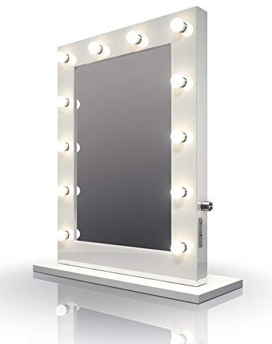 Diamond X Collection Weißer Hochglanz Hollywood Theater-Garderobe LED-Schminkspiegel k113WW