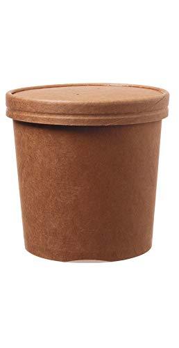 DeinPack 50 Suppenbecher to Go mit Deckel braun 750 ml 26oz I Kompostierbare Becher mit PLA Innenbeschichtung Suppen-Becher to Go Pappe I 50 Bio Einweg-Becher mit Deckel biologisch abbaubar