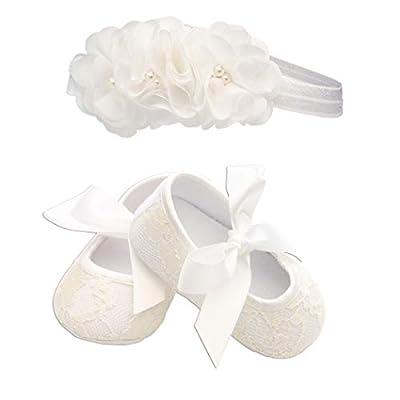 Light Ivory Lace Baptism Christening Shoe and Headband Set for Baby Girl (Size 1)