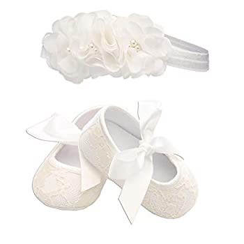 Petals  Light Ivory Lace Baptism Christening Shoe and Headband Set for Baby Girl  Size 1
