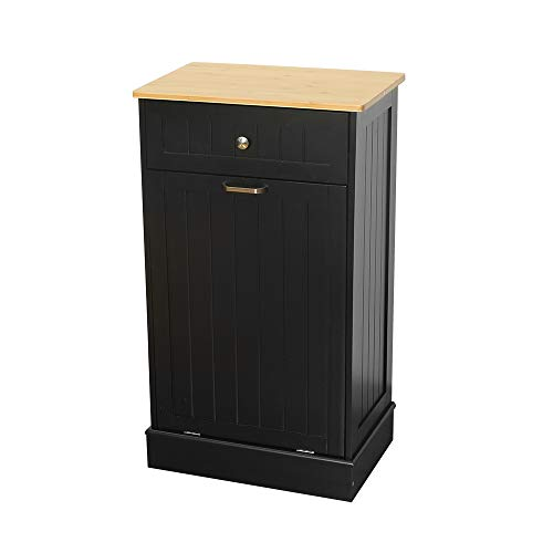 U-Eway Wooden Tilt Out Trash Cabinet Free Standing Kitchen Trash Can Holder or Recycling Cabinet with Hideaway Drawer Removable Bamboo Cutting Board (Black)
