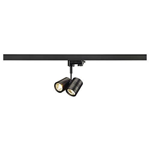 SLV 3 Phasen System Leuchte BIMA 2 / Strahler, LED-Spot, Decken-Strahler, Decken-Leuchte, Schienensystem, Innen-Beleuchtung / GU10 50.0W schwarz