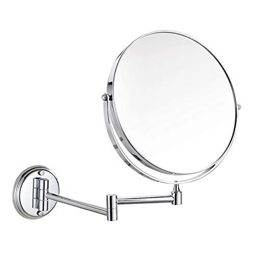 Bath Miroirs de Maquillage fixés au Mur de miroirs de Salle de Bains, miroirs de Rasage bilatéraux pour Les Hommes, Pliage d'extension,Silver_8inch