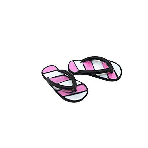 rycnet 1 Paar Mini Cute Stripe Flip Flops DIY Miniatur Spielzeug für Puppenhaus-Zubehör Pink + Black