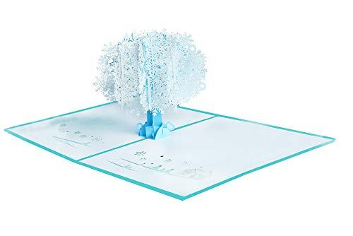 Aruie 3D-Glückwunschkarte aus Papier, Bedruckt, Weihnachtsbaum, Schneeflocke, Blau/Weiß, Karte