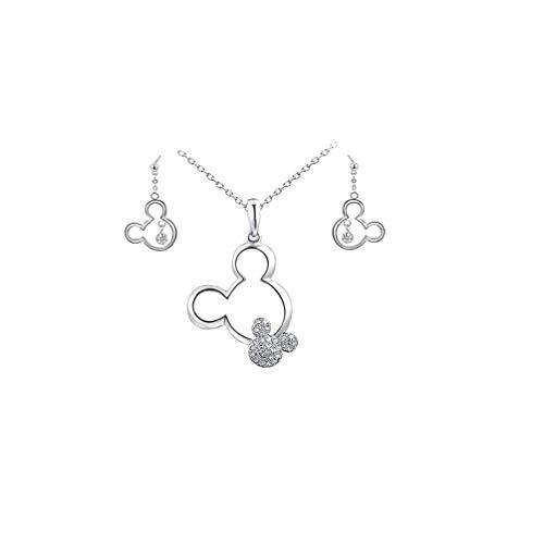 NIDONE Oro Plateado Collar del Ratón Y De Los Pendientes del Collar De Cristal del Pendiente De La Joyería para Niñas Adolescentes Regalos De Cumpleaños De Navidad Mujeres - Plata