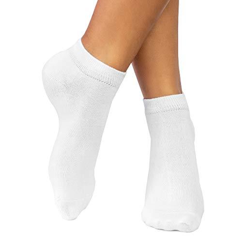 lampox® - Sneaker Bambussocken - 6 Paar - Geruchshemmend - Antibakteriell - Socken (35-38, Weiß)