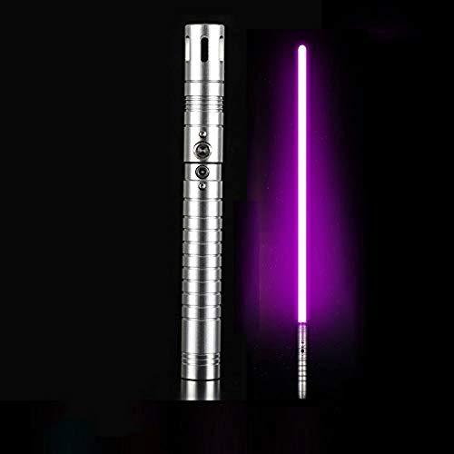 gengyouyuan Luminoso efecto de sonido de juguete espada niños adultos sable de luz metal apoyos espada Rgb SilverHandle y PurpleLight