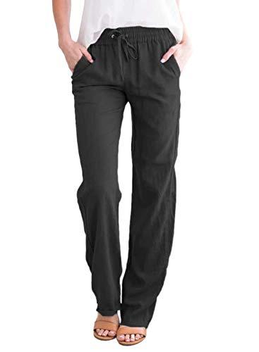 Acelitt Womens Casual Pants Capris Drawstring Elastic Waist Comfy Trousers with Pockets Black Large