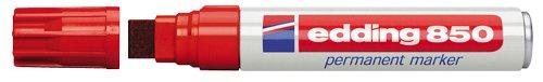 edding 850 Permanentmarker - rot - 1 Stift - Keil-Spitze 5-15 mm - für breite Markierungen - wasserfest, schnell-trocknend, wischfest - für Karton, Kunststoff, Holz, Metall, Glas