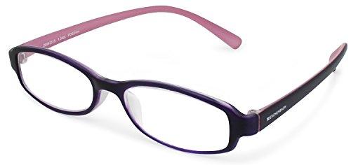 エッシェンバッハ 老眼鏡 +1.0 度数 リーディングMEGANE 弾性フレーム 日本製 パープル × ピンク 2994-3310
