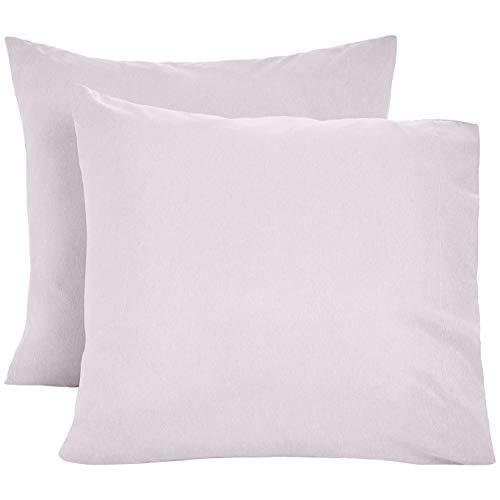 AmazonBasics Kissenbezüge, Mikrofaser, melierter Stoff, 2er-Set, 80 x 80 cm, Violett (Purple Dusk)