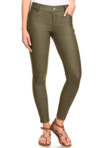 ICONOFLASH Women's Army Green Jeggings with Pockets Pull On Skinny Stretch Colored Jean Leggings Size Large