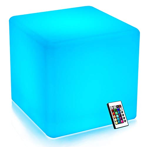 Mr.Go 14-inch 35cm Rechargeable LED Color Cube Light Seat W/ Remote Control Magic RGB Color Changing Side Table Stool Home Bedroom Patio Pool Party Mood Lamp Night Light Romantic Decorative Lighting