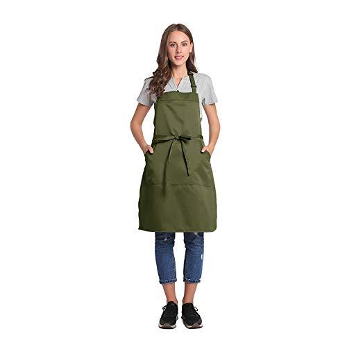 BIGHAS Delantal con babero ajustable con bolsillo extra largo para mujeres hombres, 18 colores, chef, cocina, hogar, restaurante, cafetería, cocina, hornear, jardinería