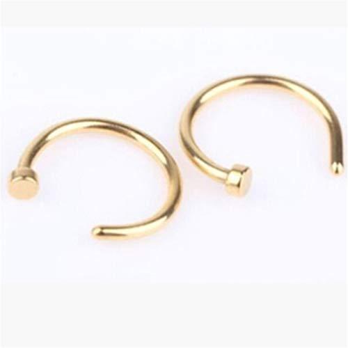 Timesuper Anillos de aro de acero inoxidable en forma de C para la nariz y el cuerpo de la joyería para mujeres y hombres, dorado