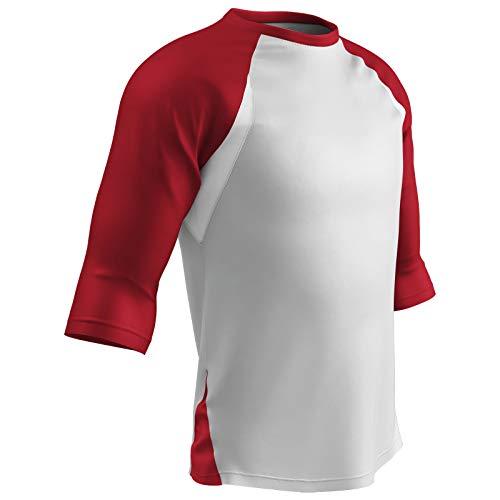 Champro Baseball-Shirt, 3/4-Ärmel, Polyester, Jugendliche, groß, Weiß, Scharlachrot