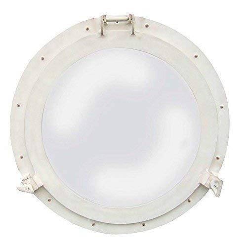 linoows patrijspoorspiegel, patrijspoort met spiegel, aluminium oud wit Ø 50 cm