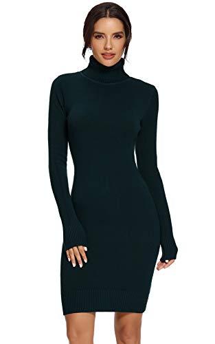 Avacoo Damen Kleider Strick Pulloverkleid Elegant Strickkleid Rollkragen Langarm Tunika Kleid Midikleid Schwarz XXL 44