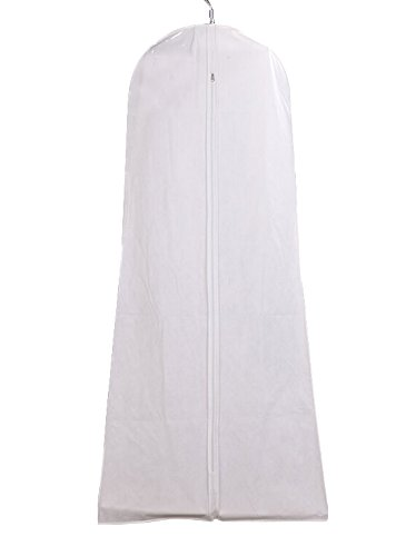 Cosmos White Color Non-Wowen Anti-dust Wedding Dress Gown Garment Bag Storage Protector Cover with Clear Zipped Pocket