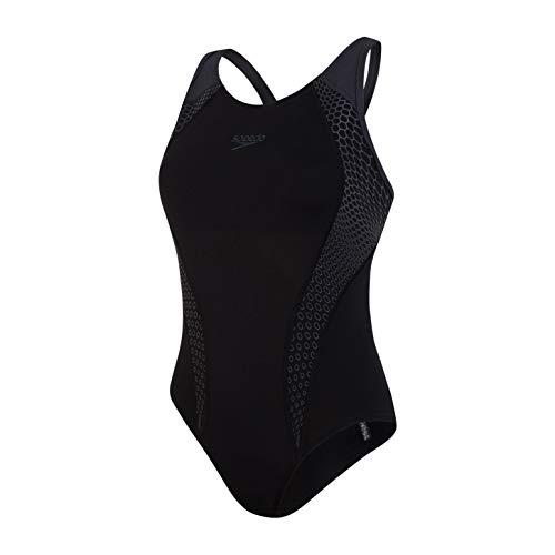 Speedo Placement Laneback Costume da Bagno, Donna, Nero/Grigio Ossido, XL